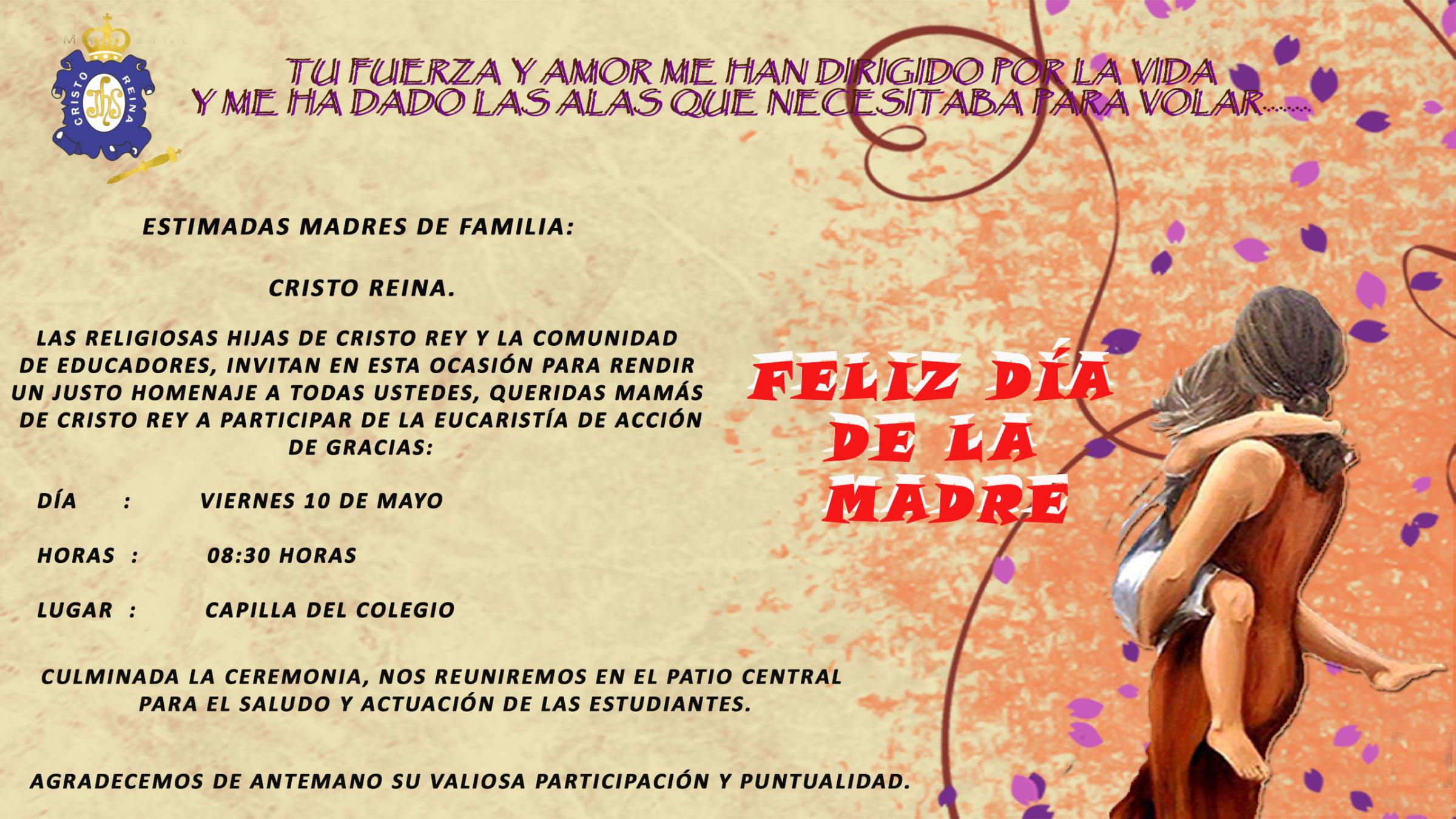 Invitación A Celebración Día De La Madre: INVITACIÓN – CELEBRACIÓN DÍA DE LA MADRE